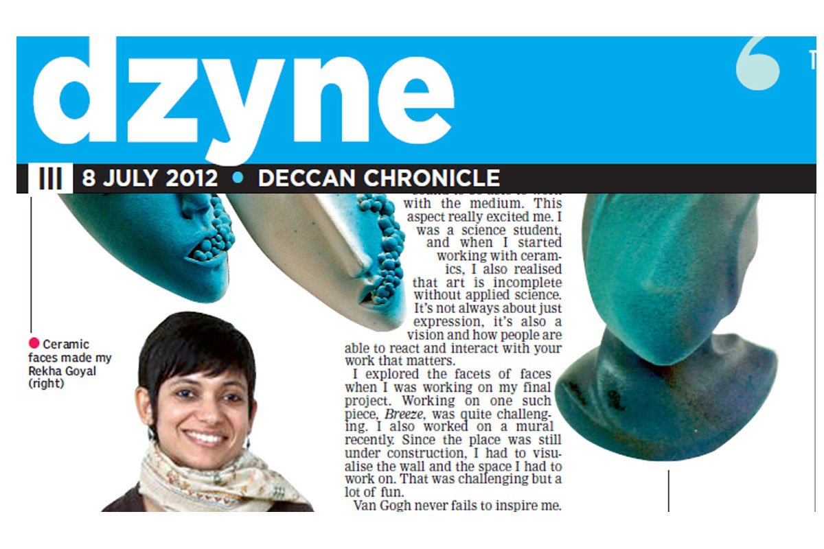 Ceramic Artist Rekha Goyal featured in the Deccan Chronicle