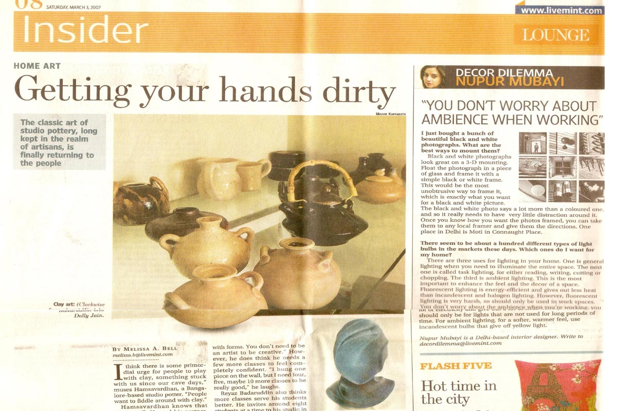 Ceramic Artist Rekha Goyal interviewed by the Mint, WSJ