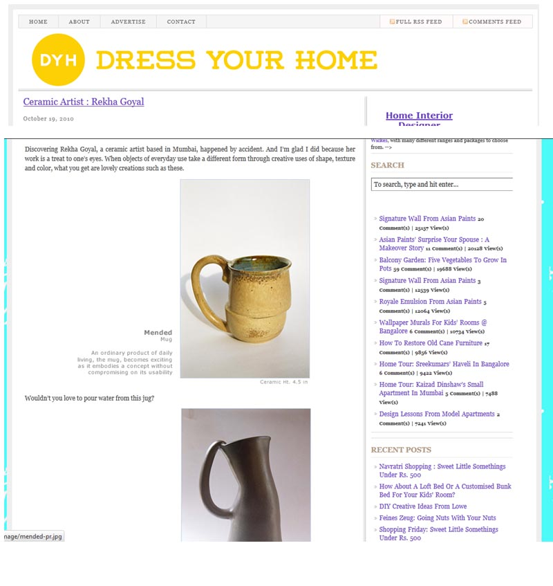 Ceramic Artist Rekha Goyal featured by blogger in Dress Your Home