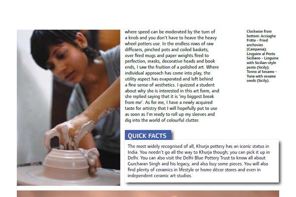 Ceramic Artist Rekha Goyal featured in Jet Wings, in-flight magazine of Jet Airways