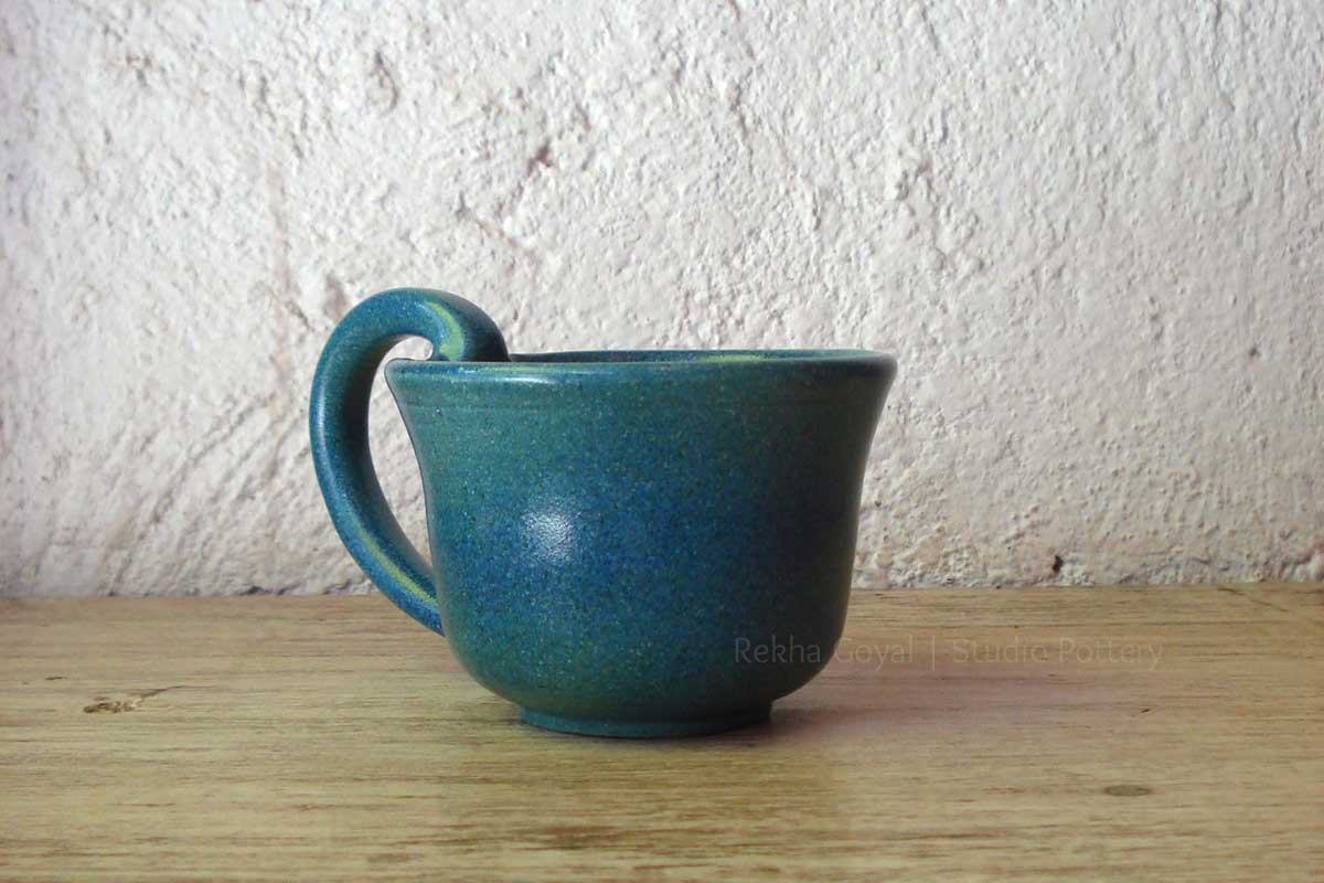 'Pretty Blue Cup' by Ceramic Artist Rekha Goyal