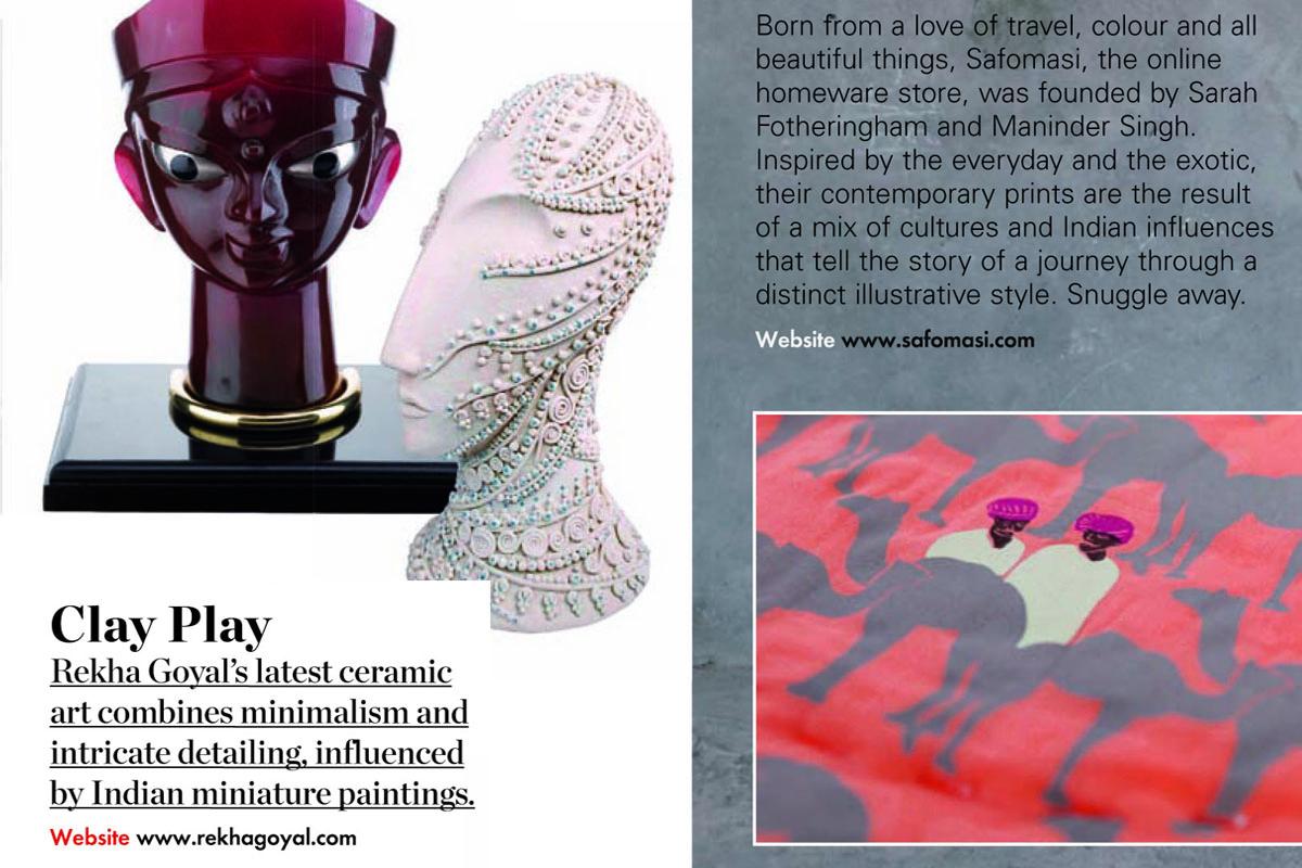 Mumbai studio potter Rekha Goyal featured in Elle Decor : Nov 2013